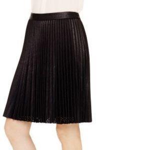 Club Monaco Faux-Leather Pleated Skirt